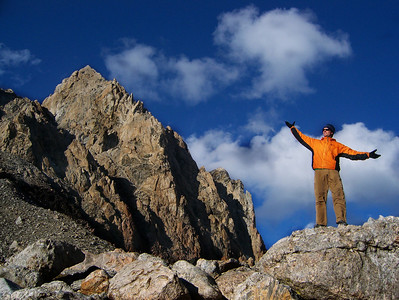 Matt holding the Grand Teton from the Upper Saddle in Grand Teton National Park.