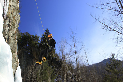 Playing around on top rope in Bolton Quarry in Vermont.