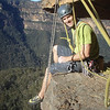 Awesome ledge belay at the end of pitch 2 of Date with Density. It was T shirt and shorts weather!