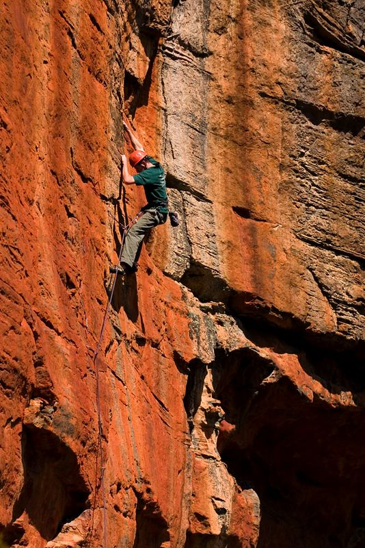 Will Monks on the first ascent of Slow Burn (23), Flame Wall, Grampians