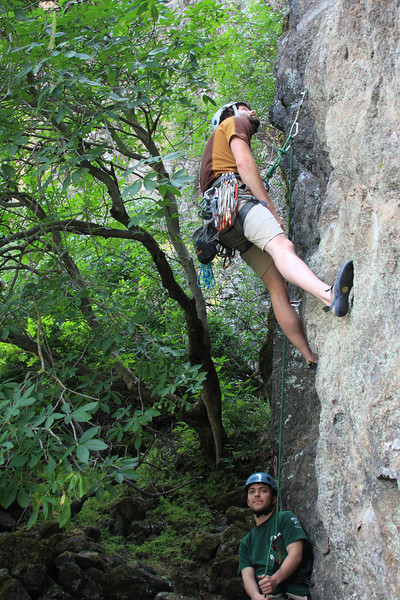 """sean """"i'm never climbing with a hangover again"""" fay - starting the day with a nice no-hands, no-feet, no-nuttin, 11c."""
