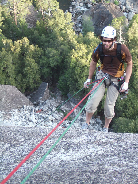 sean grimace says it all . . . this rappelling really hurts my nuts!