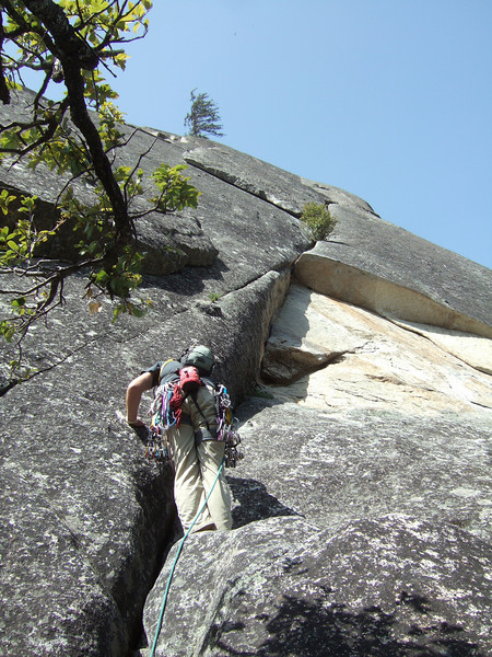 doug about to hit the crux on lead