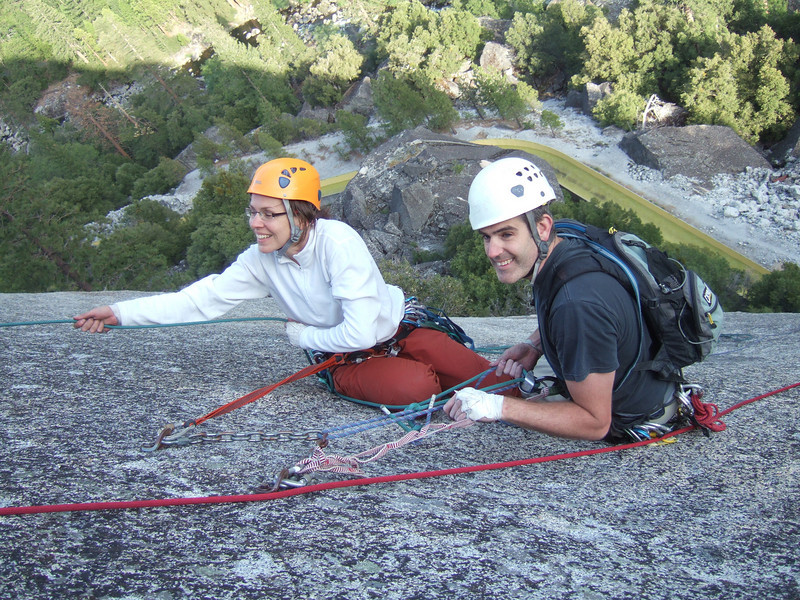 jana and doug on their way down after topping out ahead of us - gemini cracks
