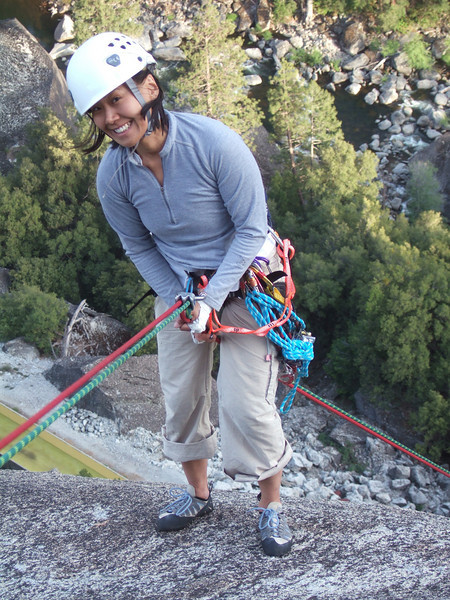 jayne smiles happily on the rappel as she is nut free