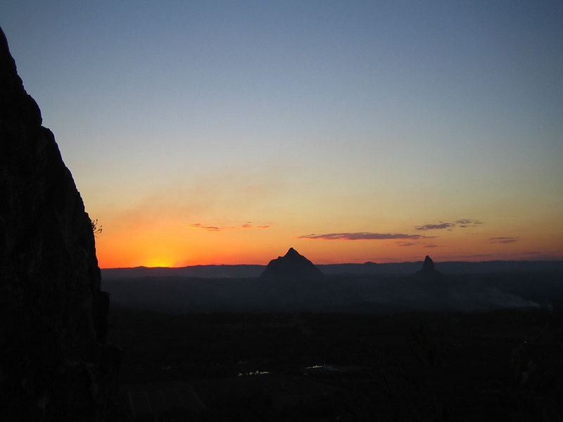 Sunset on Beerwah and Crookneck in the Glasshouse Mtns, near the Sunshine Coast in Queensland.