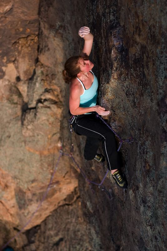 Heidi Macklin redpoints Redex Irlont Sudano (23), Werribee Gorge, Victoria. Photo Neil Monteith