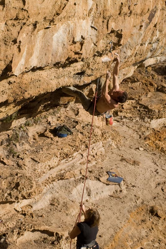 Bouldery roof start on Long Dong Silver (24/25) on the Pocketed Porn wall.