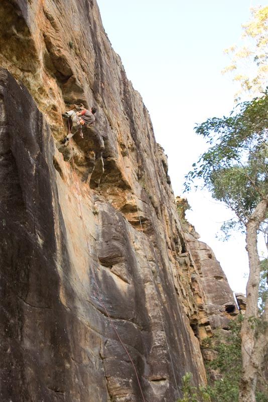 First ascent of Birds Over Burnouts (22) at Liquidity Wall. Awesome variety of moves on this route!