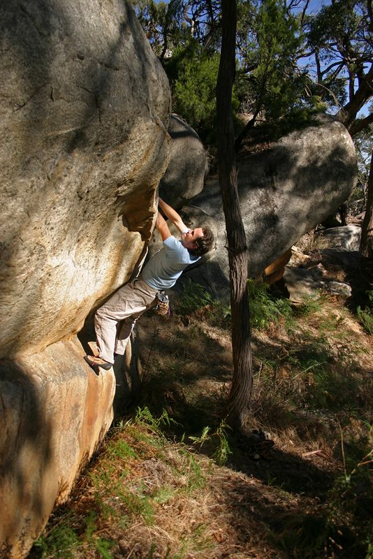 Neil Monteith on the first ascent of the superb Live Forever (V4). Photo William Swinson.