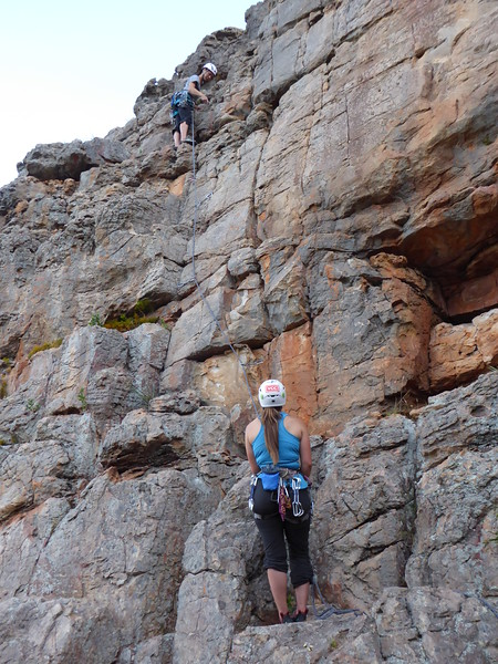 Michelle leading Trooper, Amber belaying, Bushranger Bluff, Arapiles.