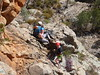 Amber and Ruby on The Shroud, Casey and Rob on Hurricane Lamp Cracks, Pharos, Arapiles.