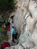 Tania belaying on Rush Hour, Death Row Pinnacle, Mt Arapiles.
