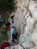 Tania belaying on Rush Hour, Death Row Pinnacle, Mt Arapiles.