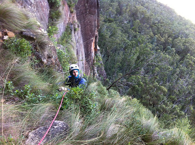 Marty tops out on pitch 1. Delightful vegetation mantle.