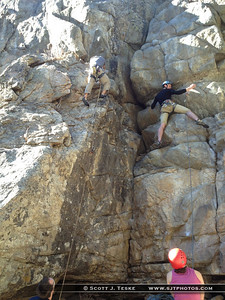 Isaiah climbs Is it Ready Yet… Moe 5.9+*, while random guy climbs Lazy Day 5.9+