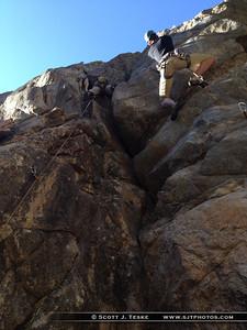 Isaiah climbs Is it Ready Yet… Moe 5.9+*, while random guy climbs Lazy Day 5.9+