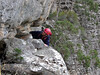 Bertrand on the traverse, Catwalk, Chimney Pots