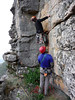 Phil and Josh trying to find the way on John the Baptist 3rd pitch, Chimney Pots