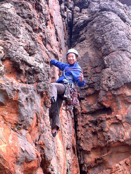Mei Li at Bushrangers Bluff, Mt. Arapiles (VCC Arapiles trip, Sept. 06)
