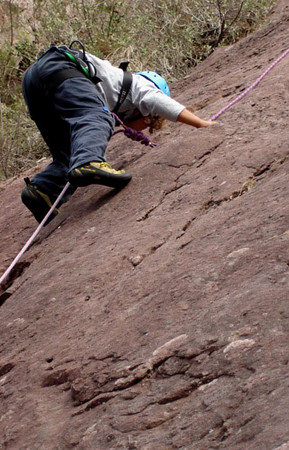 Young Eli starting off on the first pitch of Spiegals Overhang, Cathedral Ranges. (Cathedral Ranges trip April 07)