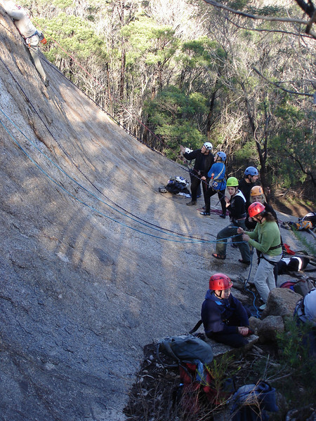 Beginners trip to You Yangs.  Early morning, some sections of the slab were seeping.  Sun came out......brilliant winters day!