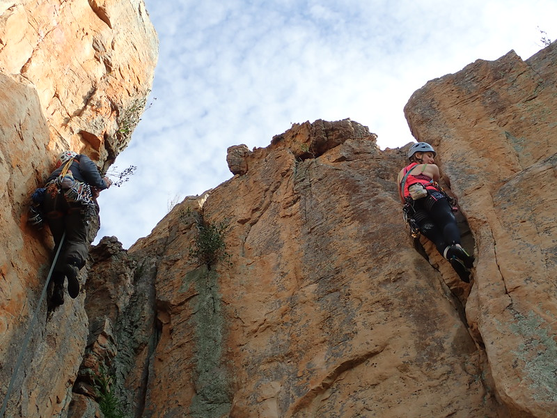 Photographing the photographer. Grace on Nero, Colosseum Wall, Arapiles.