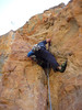 Hywel attempting something on back of Shadow Buttress.