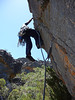 Hywel on first ascent of Angry Ant 12 m 19, Shadow Buttress.