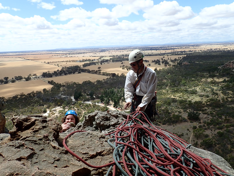 Ruby and Ben on Eskimo Nell, Arapiles.