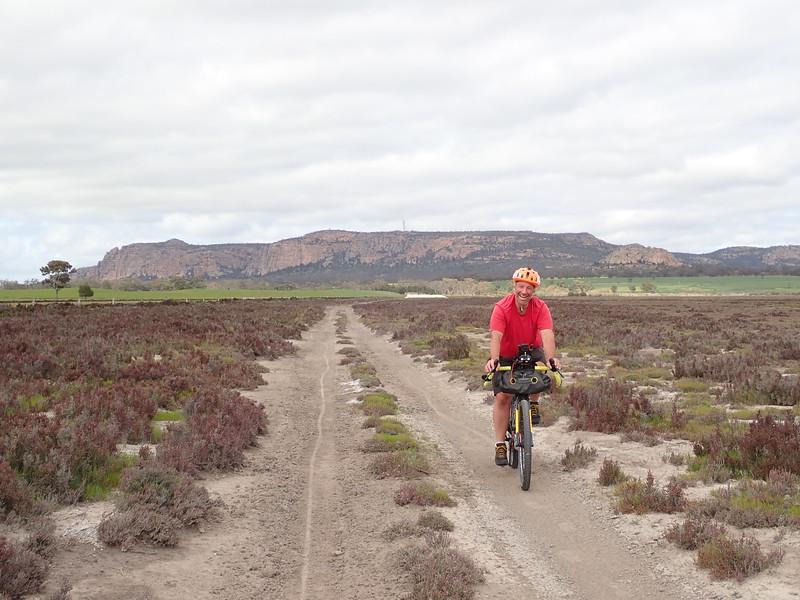 Tim cycling around Mt Arapiles