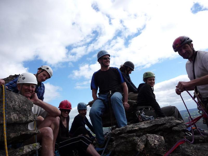 Block party on top of Schmitt Block, Gilham's Crag, Victoria Range, Grampians.
