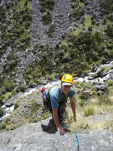 Vanessa up the grass at the end of pitch 1.