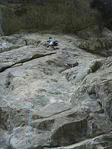 Vanessa on some 19 or something sport route at Wye Creek.