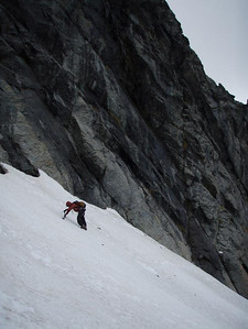 No crampons meant we had to cut steps up this slope