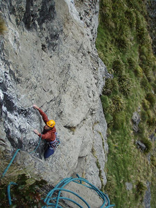 Vanessa 2nds the crux 23 pitch of Lambs to the Slaughter. I got the lead of this one - which was badly bolted and very runout on the crux move. Lucky I onsighted it.