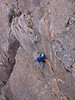 Jeremy on the crux of Queen Bee 15.