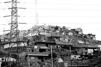 Extraordinary slums built on piles of volcanic rubble on the outskirts of Lima. The whole place was incredibly dusty.