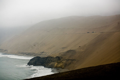 We traveled by bus from Lima to Huaraz. Half the journey was along the coastline of the Pacific Ocean on a road seemingly dug into the side of a giant sand dune.