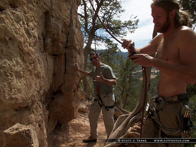 Scott getting on Pueblo Gringos 5.10 a/b **