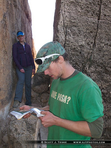 Matt checkin' the guidebook