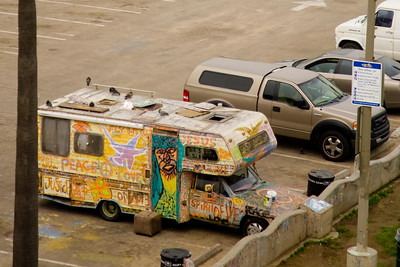 A lost hippy from the 1960s still parked on Venice Beach