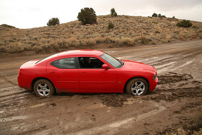 Trying to find a hot spring near Mammoth Lakes I managed to get our car bogged in this mud. I had to push it back out...