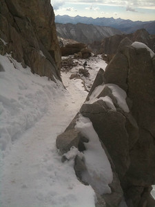 The descent down the iced up tourist route was actually very dodgy without crampons and an axe.
