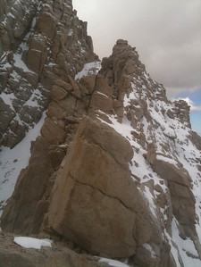 Opps - off route. I tried to avoid the snow by soloing up the rock on the right and ended up on this crazy rock ridge.