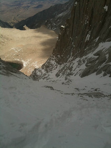 The Mountaineers Route up this snow gully.