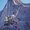 Robin Wright rappeling Devils Tower after summiting the Durrance Route.  1986