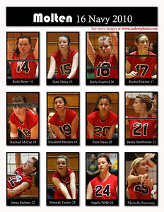 2010 Club Volleyball, Molten 16 Navy. Kailey Boyer 14, Dani Daley 15, Karly Gaylord 16, Rachel Fulcher 17, Rachael McCue 18, Elisabeth Morales 19, Paris Nano 20, Bailey Sherbrooke 21, Jenna Stahnke 22, Hannah Tanner 23, Angela Webb 24, Michelle Sweeney 25,