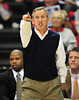 Nov 28, 2011; Nashville, TN, USA; Belmont Bruins head coach Rick Byrd directs his team against the Trevecca Nazarene Trojans during the first half at the Curb Event Center. The Bruins beat the Trojans 86-61. Mandatory Credit: Don McPeak-US PRESSWIRE