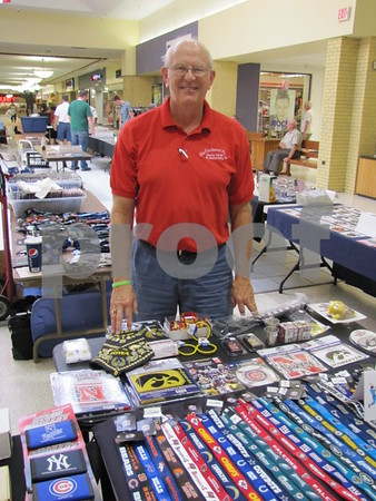 David Jensen of Farnhamville had his sports collectibles on display and sale at the Crossroads Mall in Fort Dodge.
